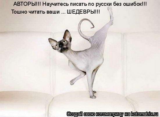 Котоматрица: АВТОРЫ!!! Научитесь писать по русски без ошибок!!! Тошно читать ваши ... ШЕДЕВРЫ!!!