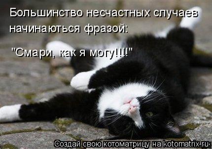 """Котоматрица: Большинство несчастных случаев начинаються фразой: """"Смари, как я могу!!!!"""""""