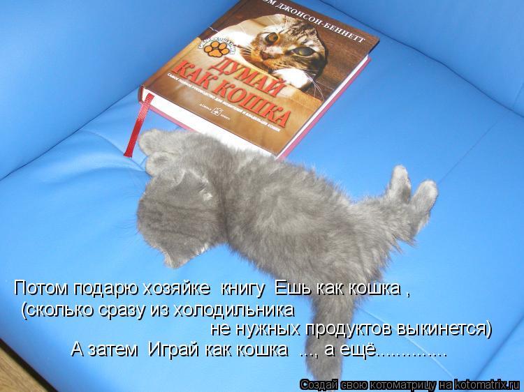 Котоматрица: Потом подарю хозяйке  книгу «Ешь как кошка», А затем «Играй как кошка» ..., а ещё.............. (сколько сразу из холодильника  не нужных продуктов в