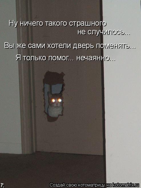 Котоматрица: Ну ничего такого страшного не случилось... Вы же сами хотели дверь поменять... Я только помог... нечаянно...