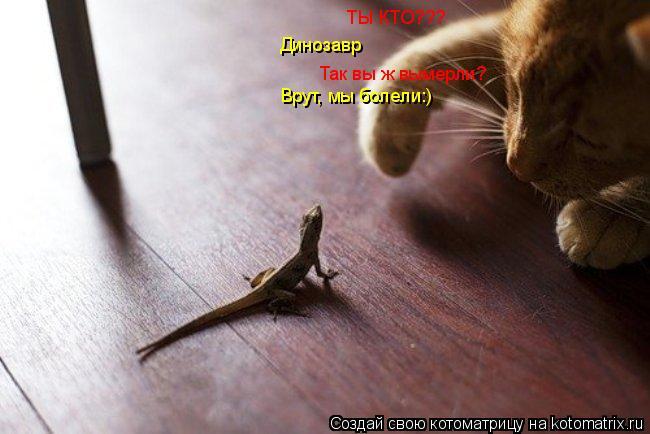Котоматрица: ТЫ КТО??? Динозавр Так вы ж вымерли? Врут, мы болели:)