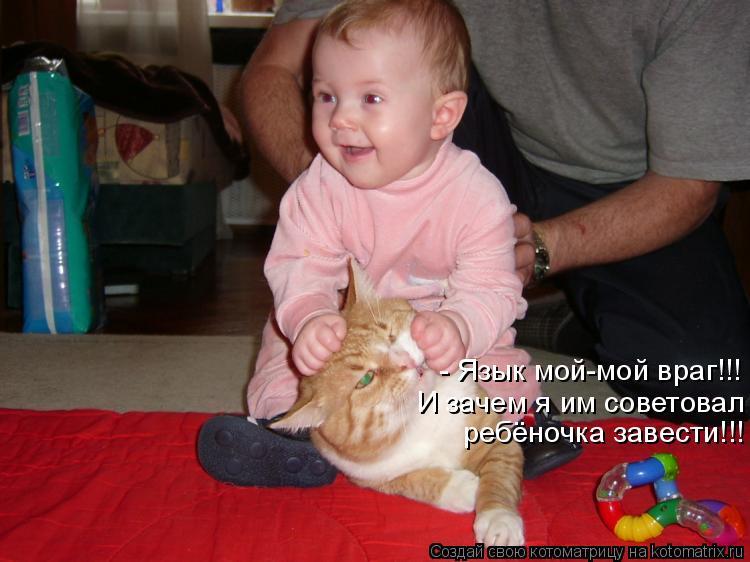 Котоматрица: - Язык мой-мой враг!!!  И зачем я им советовал  ребёночка завести!!!