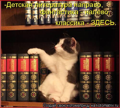 Котоматрица: -Детская литература направо,  фантастика - налево, классика - ЗДЕСЬ.