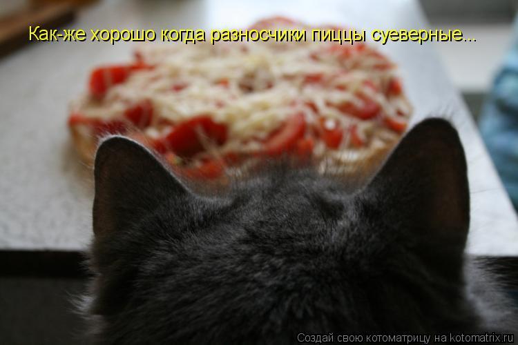 Котоматрица: Как-же хорошо когда разносчики пиццы суеверные...