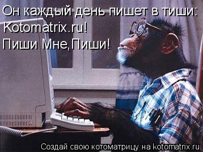 Котоматрица: Он каждый день пишет в тиши: Kotomatrix.ru! Пиши Мне,Пиши!