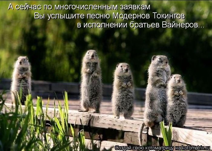 Котоматрица: А сейчас по многочисленным заявкам  Вы услышите песню Модернов Токингов в исполнении братьев Вайнеров...