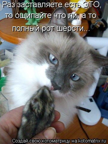 Котоматрица: Раз заставляете есть ЭТО, то ощипайте что ли, а то полный рот шерсти...