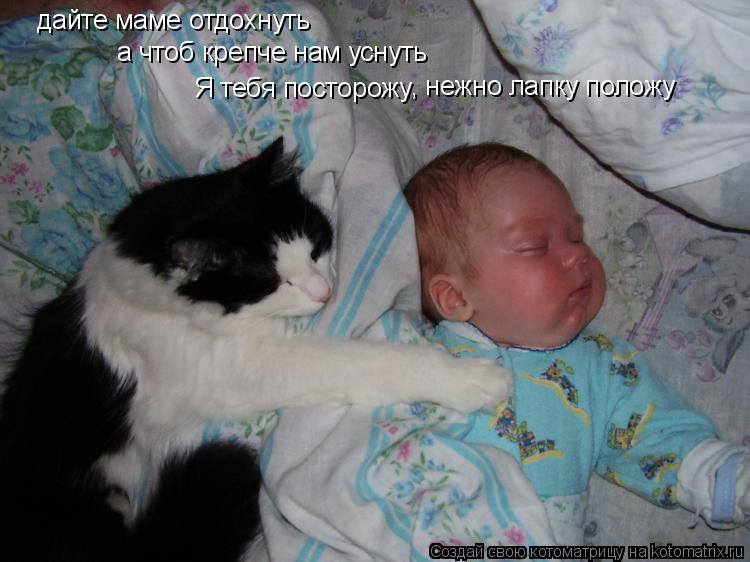Котоматрица: дайте маме отдохнуть а чтоб крепче нам уснуть Я тебя посторожу , нежно лапку положу