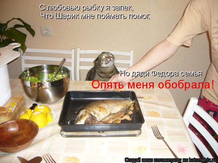 Котоматрица: С любовью рыбку я запек, Что Шарик мне поймать помог, Но дяди Федора семья Опять меня обобрала!