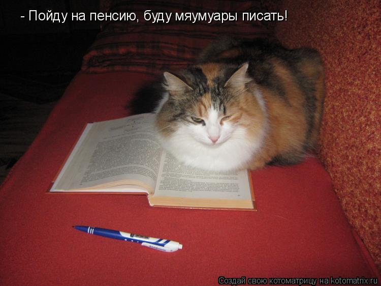 Котоматрица: - Пойду на пенсию, буду мяумуары писать!