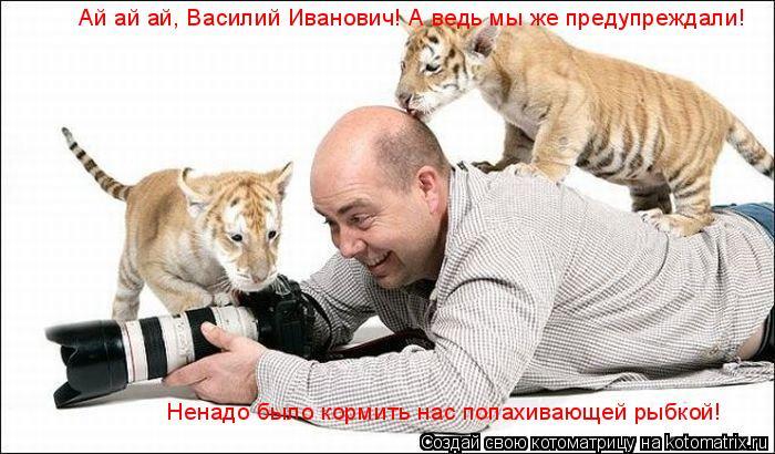 Котоматрица: Ай ай ай, Василий Иванович! А ведь мы же предупреждали! Ненадо было кормить нас попахивающей рыбкой!