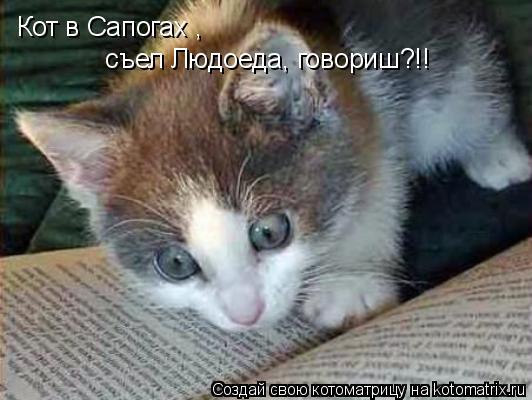 Котоматрица: Кот в Сапогах ,  съел Людоеда, говориш?!!