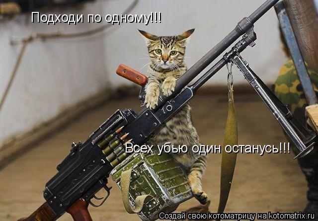 Котоматрица: Подходи по одному!!! Всех убью один останусь!!!