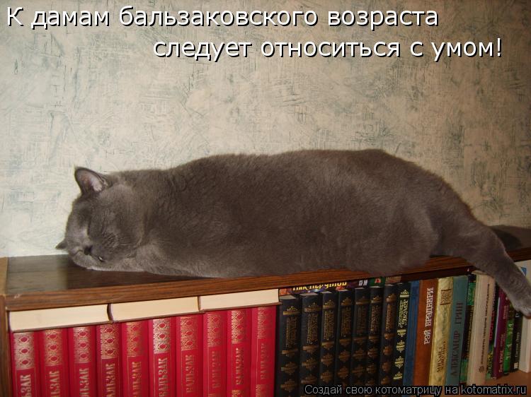 Котоматрица: К дамам бальзаковского возраста  следует относиться с умом!