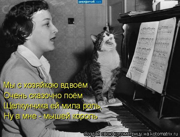 Котоматрица: Мы с хозяйкою вдвоём Очень сказочно поём Щелкунчика ей мила роль, Ну а мне - мышей король
