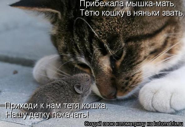 Котоматрица: Прибежала мышка-мать, Тётю кошку в няньки звать. Нашу детку покачать! Приходи к нам тетя кошка,