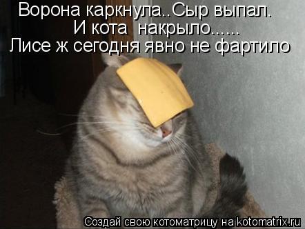 Котоматрица: Ворона каркнула..Сыр выпал.  Лисе ж сегодня явно не фартило  И кота  накрыло......