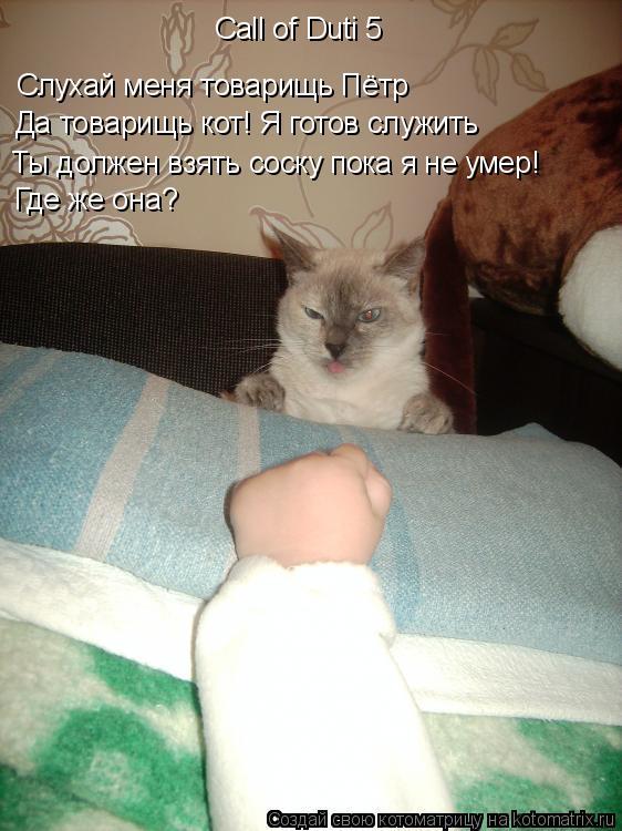 Котоматрица: Call of Duti 5 Слухай меня товарищь Пётр Да товарищь кот! Я готов служить Ты должен взять соску пока я не умер! Где же она?