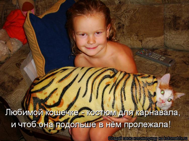 Котоматрица: Любимой кошечке - костюм для карнавала, и чтоб она подольше в нём пролежала!