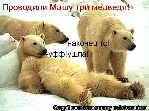 Котоматрица: -уфф!ушла! -наконец то! Проводили Машу три медведя!