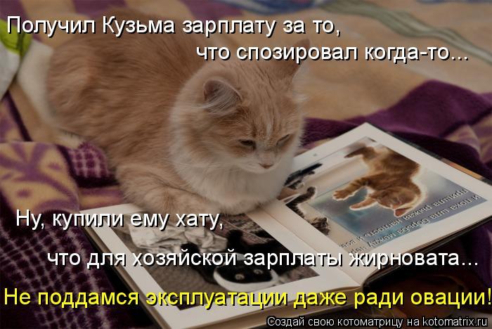 Котоматрица: Получил Кузьма зарплату за то,  что спозировал когда-то... Ну, купили ему хату, что для хозяйской зарплаты жирновата... Не поддамся эксплуатац