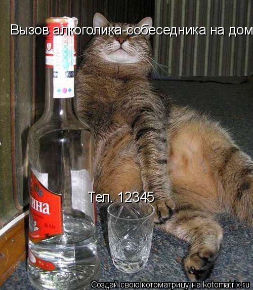 Котоматрица: Тел. 12345 Вызов алкоголика-собеседника на дом