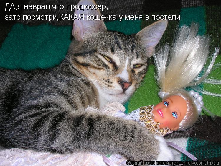 Котоматрица: ДА,я наврал,что продюссер зато посмотри,КАКАЯ кошечка у меня в постели ,