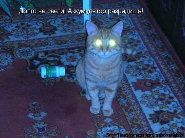 Котоматрица: Долго не свети! Аккумулятор разрядишь!