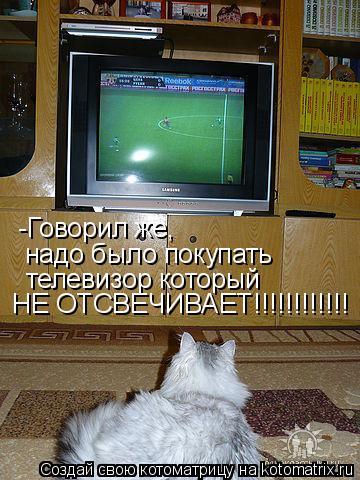 Котоматрица: -Говорил же, надо было покупать телевизор который НЕ ОТСВЕЧИВАЕТ!!!!!!!!!!!!