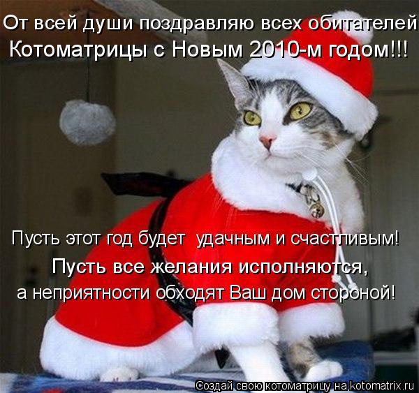 Котоматрица: От всей души поздравляю всех обитателей  Котоматрицы с Новым 2010-м годом!!! Пусть этот год будет  удачным и счастливым! Пусть все желания испо