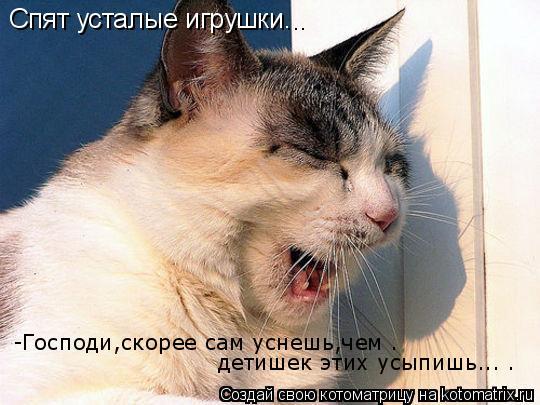Котоматрица: Спят усталые игрушки... -Господи,скорее сам уснешь,чем . детишек этих усыпишь... .