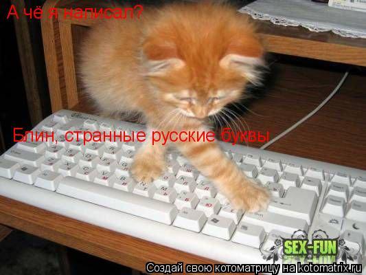Котоматрица: А чё я написал? Блин, странные русские буквы