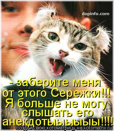 Котоматрица: - заберите меня  от этого Сережки!!!  Я больше не могу  слышать его  анекдотыыыыыы!!!!