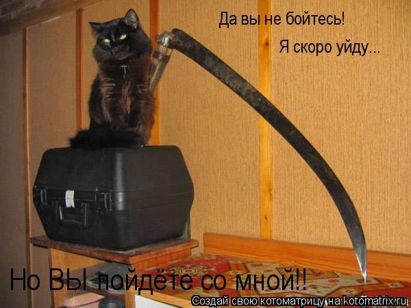 Котоматрица: Да вы не бойтесь! Я скоро уйду... Но ВЫ пойдёте со мной!!