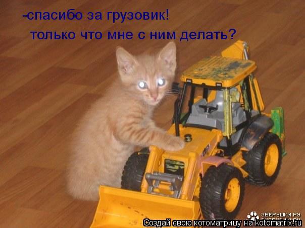 Котоматрица: -спасибо за грузовик! только что мне с ним делать?