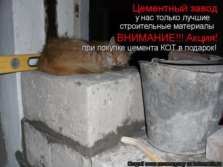 Котоматрица: Цементный завод у нас только лучшие строительные материалы ВНИМАНИЕ!!! Акция! при покупке цемента КОТ в подарок!