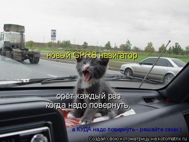 Котоматрица: новый GPRS навигатор орёт каждый раз а КУДА надо повернуть - решайте сами:) когда надо повернуть,
