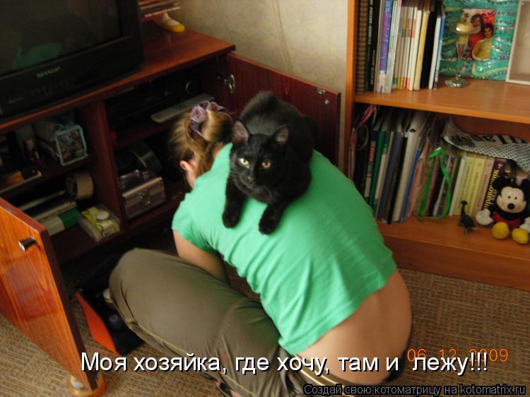 Котоматрица: Моя хозяйка, где хочу, там и  лежу!!!
