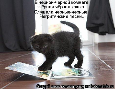 Котоматрица: В чёрной-чёрной комнате Слушала чёрные-чёрные Чёрная-чёрная кошка Негритянские песни...