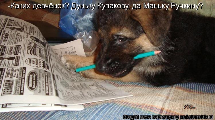 Котоматрица: -Каких девчёнок? Дуньку Кулакову, да Маньку Ручкину?