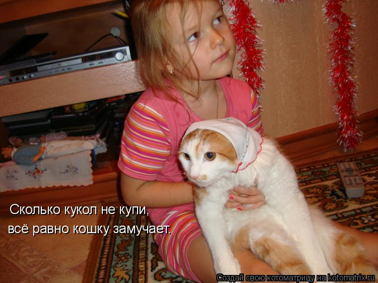 Котоматрица: Сколько кукол не купи, всё равно кошку замучает.
