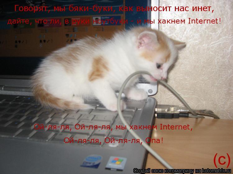 Котоматрица: Говорят, мы бяки-буки, как выносит нас инет, дайте, что ли, в руки ноутбуки - и мы хакнем Internet! Ой-ля-ля, Ой-ля-ля, мы хакнем Internet,  Ой-ля-ля,