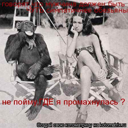 Котоматрица: говорят,что мужчина должен быть  ЧУТЬ симпатичнее обезьяны не пойму,ГДЕ я промахнулась ?