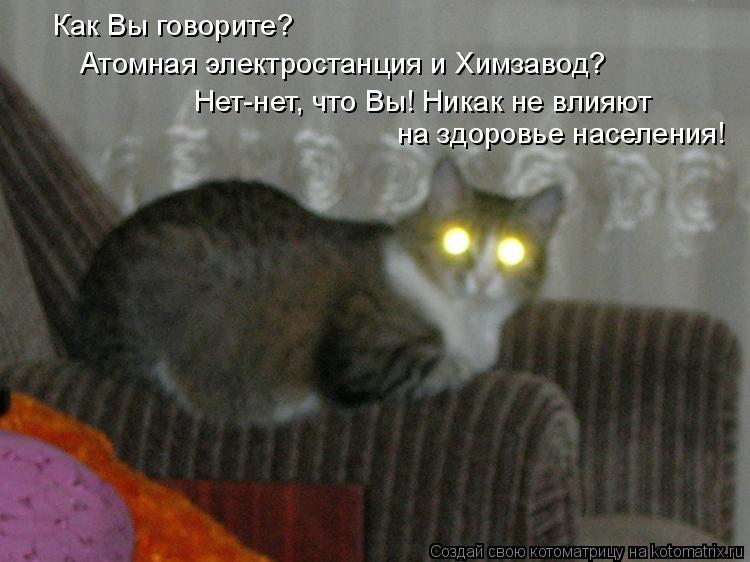 Котоматрица: Как Вы говорите? Атомная электростанция и Химзавод? Нет-нет, что Вы! Никак не влияют на здоровье населения!