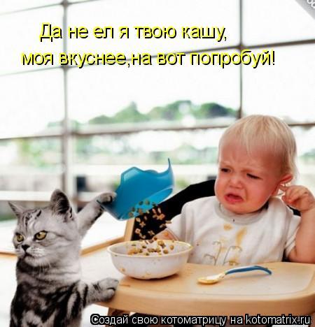 Котоматрица: Да не ел я твою кашу, моя вкуснее,на вот попробуй!