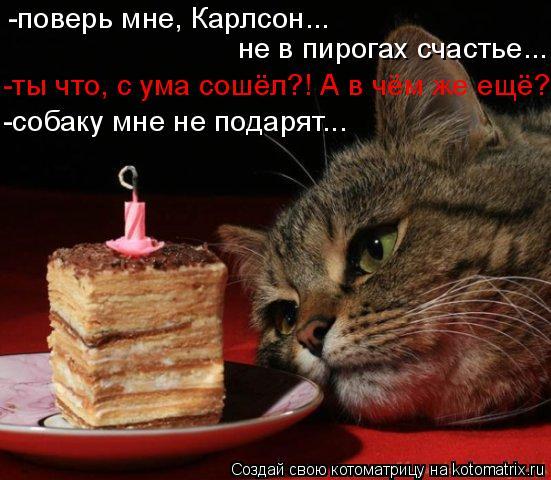 Котоматрица: -поверь мне, Карлсон... не в пирогах счастье... -ты что, с ума сошёл?! А в чём же ещё? -собаку мне не подарят...