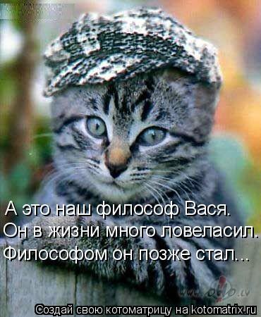 Котоматрица: А это наш философ Вася. Он в жизни много ловеласил. Философом он позже стал...