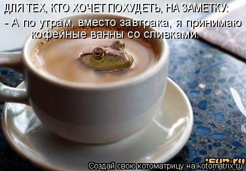 Котоматрица: ДЛЯ ТЕХ, КТО ХОЧЕТ ПОХУДЕТЬ, НА ЗАМЕТКУ: - А по утрам, вместо завтрака, я принимаю кофейные ванны со сливками.