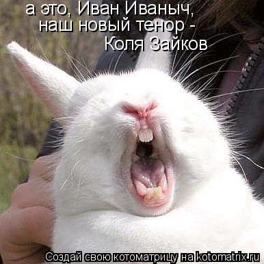Котоматрица: а это, Иван Иваныч, наш новый тенор -  Коля Зайков