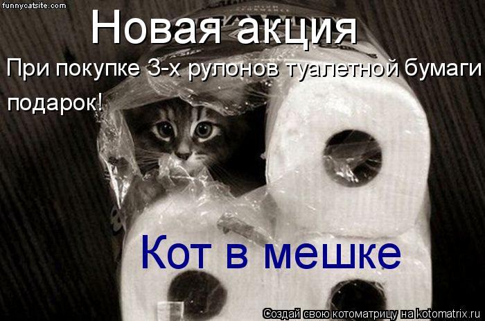 Котоматрица: Новая акция При покупке 3-х рулонов туалетной бумаги подарок! Кот в мешке